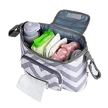 Kitty/&Grey Easy to Install,Unflavored Large Storage Space Universal Multi-Functional Baby Stroller Storage Bag,Diaper Bag Hanging Baby Carriage Bracket Diaper Handbag,Waterproof