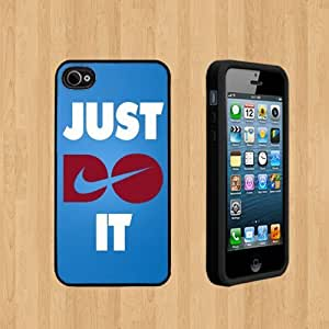 Just do it nike copy Custom Case/Cover FOR Apple iPhone 4 /4S BLACK Rubber Case ( Ship From CA )