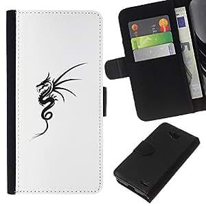 KLONGSHOP // Tirón de la caja Cartera de cuero con ranuras para tarjetas - Arte negro del tatuaje de tinta blanca - LG OPTIMUS L90 //