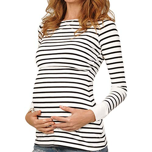 BOLUOYI Halloween Maternity Shirts for Women Women Mom Pregnant Nursing Baby Maternity Long Sleeved Stripe Tops Blouse Clothe White S ()