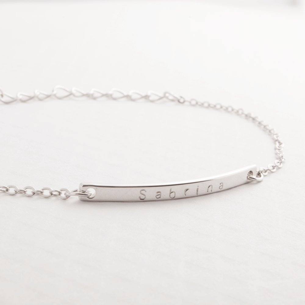 Personalized Your Name Bar Anklet Dainty Initial Personalized Bar 16k Gold Silver Rose Gold Plated anklet Mothers day Bridesmaid and Wedding Gift hand stamp by i1it
