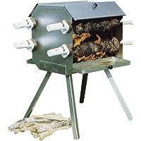 Spießgrill silber XXL Skewer Grill Balkon Garten ✔ eckig ✔ stehend grillen ✔ Grillen mit Holzkohle