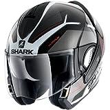 Shark EVOline de tiburón 3hataum KWR cascos de motocicleta, color negro/blanco/rojo, tamaño L