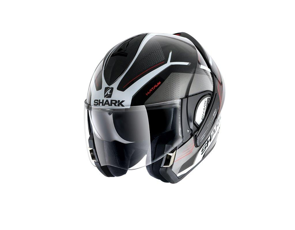 Talla: XS. Shark Evoline 3 Hataum KWR blanco rojo Color: Negro Casco modular para motocicleta