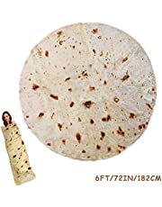 RAINBEAN Burrito Tortilla Blanket,Perfectly Round Novelty Blanket to be a Giant Human Burrito,Throw Food Creation Wrap Blanket for Bed/Sofa/Picnic/Beach/Travel/Office/Aircraft/Car,Soft&Plush Towel