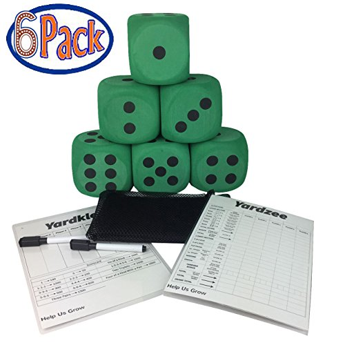 "4"" Yard Foam Dice Pack of 6 with Carry Bag By SPORT BEATS (green)"