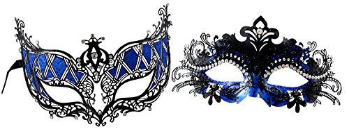 1Bay Couple Black and Blue Masquerade Mask with Clear ()