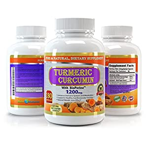 Pure Turmeric Curcumin with Bioperine, 180 Capsules, 1200 mg Serving - 3 Months' Supply, Best Value on Market – Experience the Benefits of the High Potency Turmeric Curcumin with Black Pepper Extract