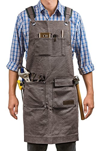 Luxury Waxed Canvas Shop Apron | Heavy Duty Work Apron for Men & Women with Pocket & Cross-Back Straps | Adjustable Tool Apron Up To XXL | Long, Thick, Water Resistant Workshop Apron in Gift Box by GIDABRAND (Image #1)