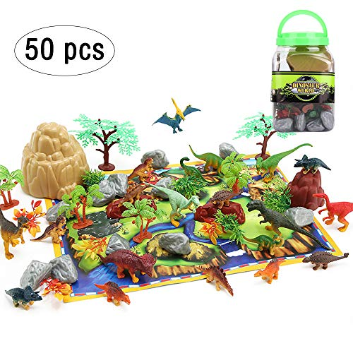 (50PCS Dinosaur Toys Party Supplies Jurassic Plastic Dinosaurs World Dinasors Toys for Boys Girls 3 Year Olds Up Kids Birthday Dinosaur Party Favors -20 Dinos, 30 Plants & Rocks, 1 Map, 1 Bucket)