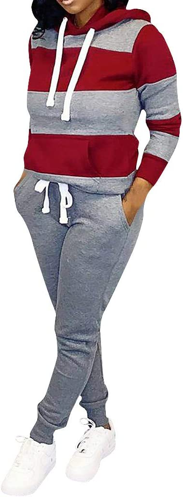 Women Sweatsuits Sets Plus Size Color Block Long Sleeve Pullover Hoodie and Pants Tracksuit Sportswear Outfits for Fall Winter