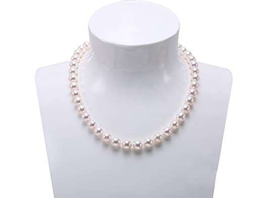JYX 9mm Classic Freshwater Natural Pink Round Pearl Necklace Strand 18 tXS40GkhVb
