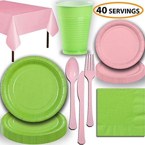 Disposable Party Supplies, Serves 40 - Lime Green and Light Pink - Large and Small Paper Plates, 12 oz Plastic Cups, Heavyweight Cutlery, Napkins, and Tablecloths. Full Two-Tone Tableware Set