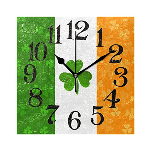 - Naanle Irish Flag with Clover Shamrock Print Round/Square/Diamond Acrylic Wall Clock Oil Painting Home Office School Decorative Creative Dual Use Clock Art