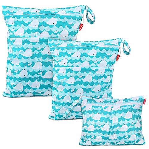Damero 3 pcs Baby Wet Dry Cloth Diaper Bag, Reusable Wet Dry Nappy Bag,...
