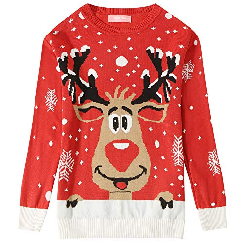 Camii Mia Big Girls' Funny Santa Reindeer Pullover Ugly Christmas Sweater (Medium(10-12), Red) ()