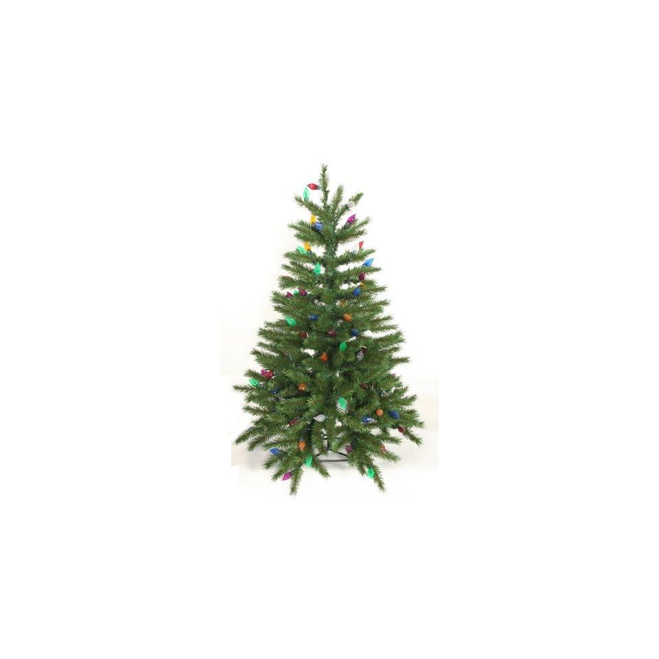 3 Pre Lit Fir Artificial Christmas Tree   100 Multi Crystal Ball Lights