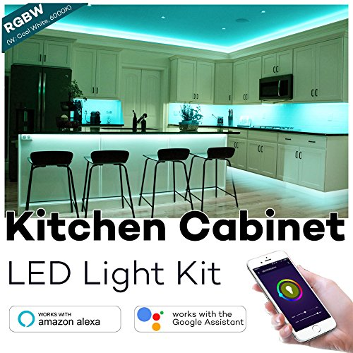 Kitchen Cabinet Lighting, Megulla Smart Wifi RGBW LED Light Strip with Timer and Dimmer, 59in, IP65 Waterproof, APP Control by Smart Phone, Works with Alexa and Google Home (RGBW(W:Cool White, 6000K))