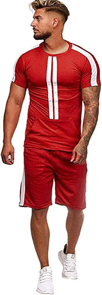 Sport Set for Men Limsea 2 Piece Outfit Casual Tracksuit Short Sleeve T-Shirts and Shorts Summer Activewear