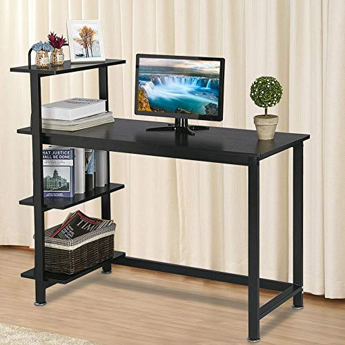 Yaheetech Black Computer Desk with Shelves for Home Office, Wood Writing Desk with Bookshelves, Compact Computer PC Laptop Workstation Study Table with Bookcase