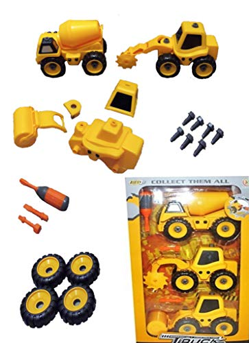Take Apart Construction Trucks Assembly Toy for Toddlers Boys Age 3 4 5 6. STEM Educational DIY Building Kids 3-6 Engineering. 3 Yellow Cat Truck Vehicles: Cement Truck, Steamroller, Grinder