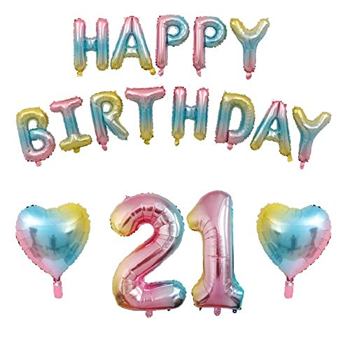 21st Birthday Decorations - Gradient Color 21 Balloons Colorful Happy Birthday Balloons Banner, Foil Heart Balloons, 21st Gradient Color Birthday Party Decorations -
