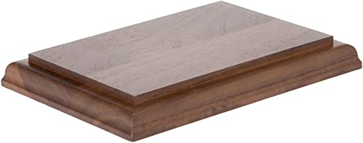 "Plymor Brand Solid Walnut Rectangular Wood Display Base .75/"" H x 10/"" W x 5/"" D"