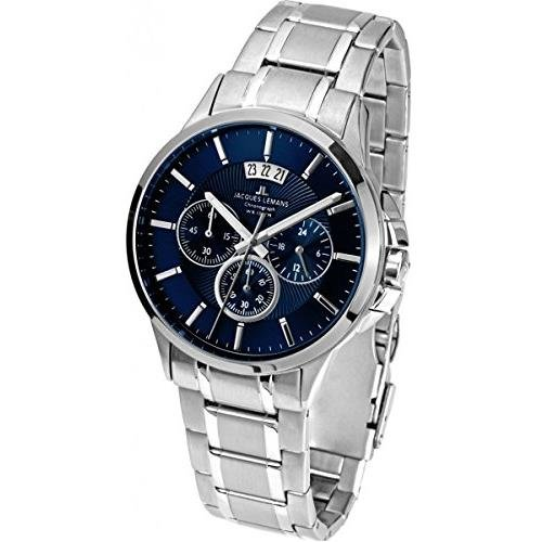 (Jacques Lemans Men's Steel Bracelet & Case Quartz Black Dial Chronograph Watch 1-1542I)
