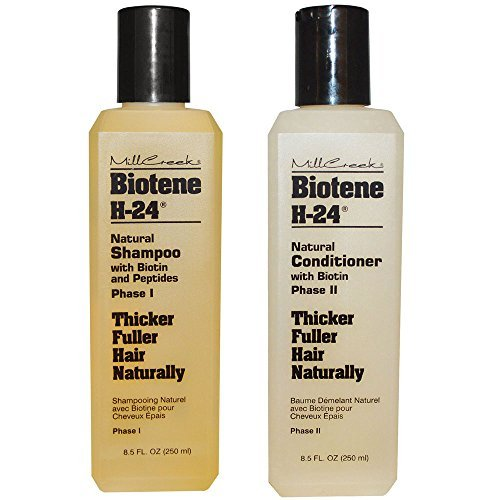 - Mill Creek Botanicals Biotene H-24 Biotin and Keratin Shampoo and Condtiioner Bundle For Thinning Hair, Hair Loss and Receding Hair Line With Aloe Vera, Sage, Panthenol and Vitamin E, 8.5 oz. each