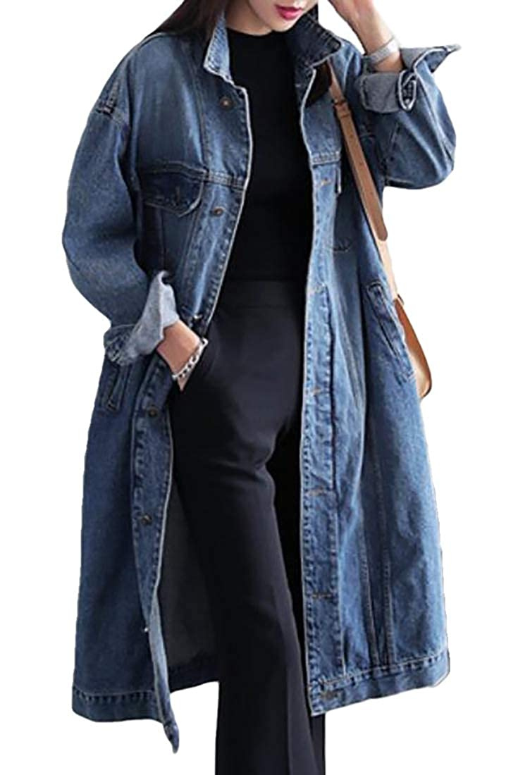 CRYYU Women Loose Plus Size Washed Denim Mid Long Trench Coat Jacket Overcoat