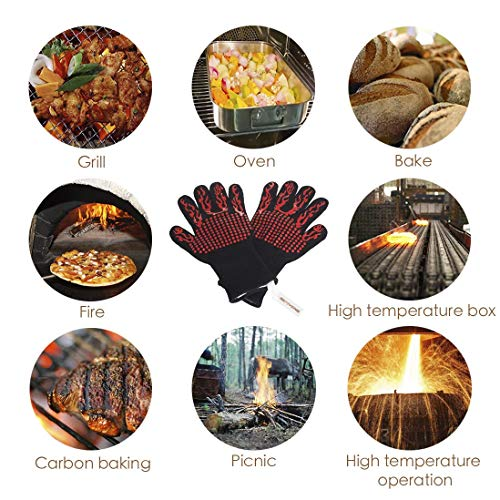DsFiyeng BBQ Gloves Grill Gloves Oven Gloves 932°F for Cooking, Grilling, Baking- Grill & Kitchen Accessories by DsFiyeng (Image #5)