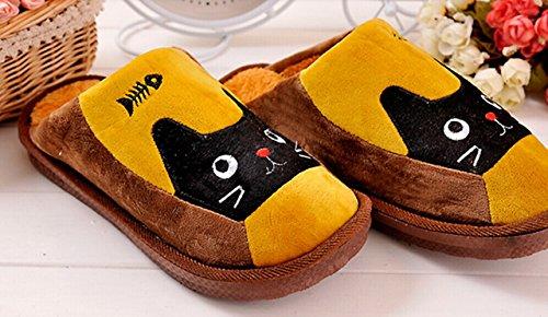 Cute de Dibujo de Gato y pez Zapatillas de Andar por casa de Seguridad Antideslizante Caliente