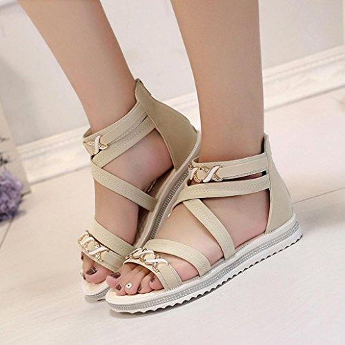 Planos Sandalias Mujer Cuero Calzado Zapatos Beige De Ladies amlaiworld Mujer Sq8wARU