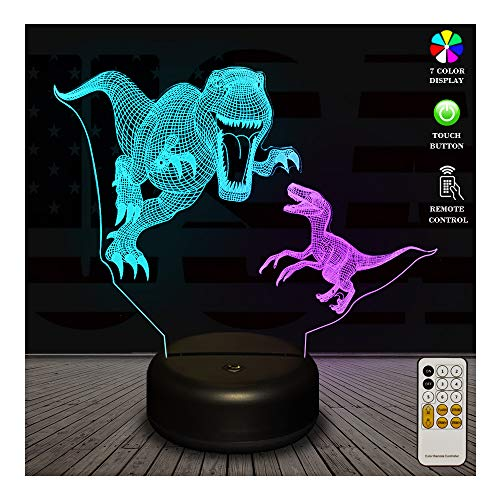 3D Night Light, Dual-Color Smart Touch Remote Control USB & Battery Powered 7 Colors Changing Dinosaur Bedside Desk Lamp Perfect Christmas Birthday Gift Toys for Baby Kids Adults Lover Friends