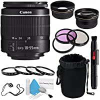 Canon EF-S 18-55mm f/3.5-5.6 III Lens (International Model no Warranty) + 58mm 2x Telephoto Lens + 58mm Wide Angle Lenses + 58mm Macro Close Up Kit + 58mm 3 Piece Filter Kit 6AVE Bundle 6