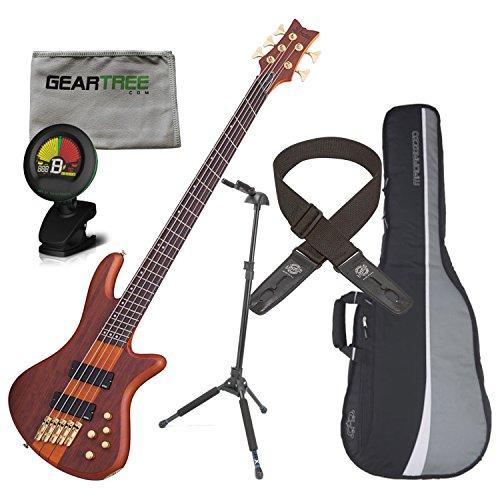 (Schecter 2794 Stiletto Studio 5-String Fanned Fret Bass Guitar (Honey Stain) w/)