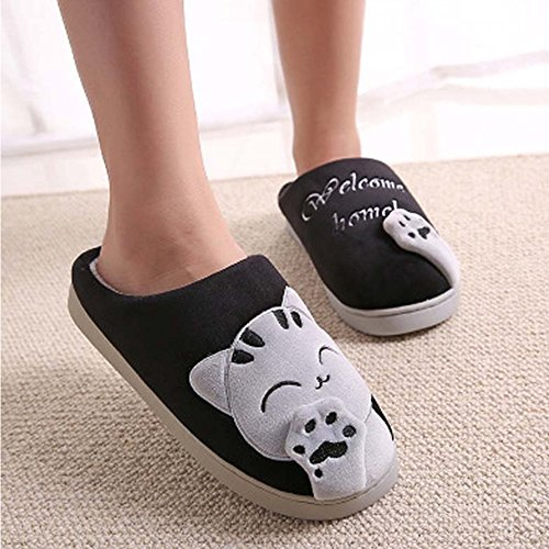 Black SITAILE Cat Home Women Lucky Adult Winter Indoor Warm Cute Men Slippers Plush House Slippers 1UZxq1w6C