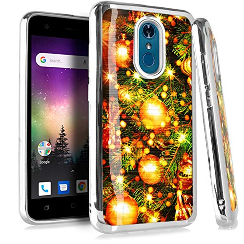Compatible LG Stylo 4 | Stylo 4 Plus | Q Stylus Plus Alpha Case Electroplated Chrome TPU Brushed Textured Hybrid Holiday Phone Cover (Ornament Tree)