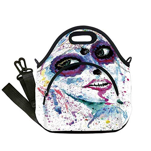 (Girls Custom Neoprene Lunch Bag,Grunge Halloween Lady with Sugar Skull Make Up Creepy Dead Face Gothic Woman Artsy for Lunch Trip Travel Work,With Pocket(12.6''L x 6.3''W x)