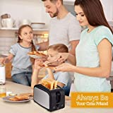 2-Slice Toaster,Household Automatic Fast Heating Compact Brushed Stainless Steel Bread Toaster Breakfast Bagels Muffins,Waffles,Bagels,Wide Slot Temp-Control,Cool Touch Defrost Reheat Cancel