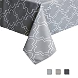 country kitchen table cloth Eforcurtain Geometric Spillproof Fabric Tablecloth Modern Style Table Cover Dining Room Kitchen Rectangle, 52 Inch By 70 Inch, Grey