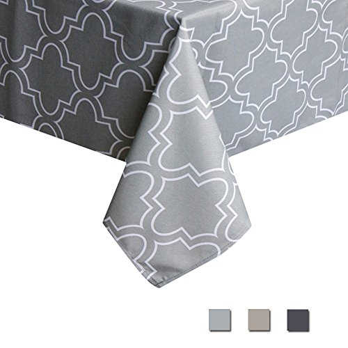 Eforcurtain Geometric Spillproof Fabric Tablecloth Modern Style Table Cover Dining Room Kitchen Rectangle, 52 Inch By 70 Inch, Grey (Patio Umbrella See Through)