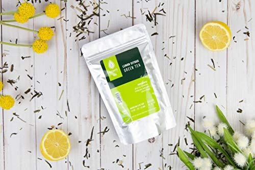 Elevate Tea LEMON GREEN TEA, 50 servings, 2 Pack of 3 oz Pouches, Caffeine Level: Medium, 3 oz