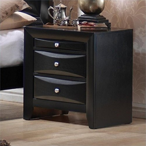 (BOWERY HILL 2 Drawer Nightstand in Glossy Black Finish)