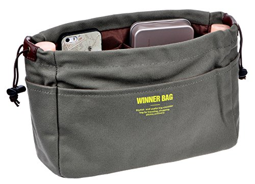 Vercord Canvas Handbag Organizers Sturdy Purse Insert Organizer Bag in Bag 13 Pockets Army Green Large