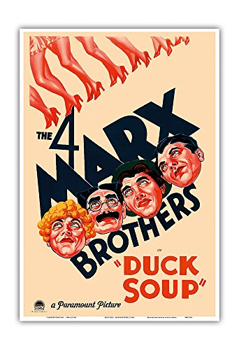 The 4 Marx Brothers in Duck Soup - Vintage Film Movie Poster c.1930s - Master Art Print - 13in x 19in (Brothers Marx Poster)