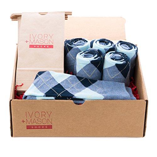 Ivory + Mason Groomsmen Socks - Personalized - Mens Argyle - Baby Blue - Premium Cotton - Size 8-13 (6 Pairs)