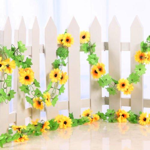 VIPASNAM-Artificial Fake Sunflower Vine Leaf Gazebo Decor Ivy For Indoor Or Outdoor (Sunbrella Sunflower)