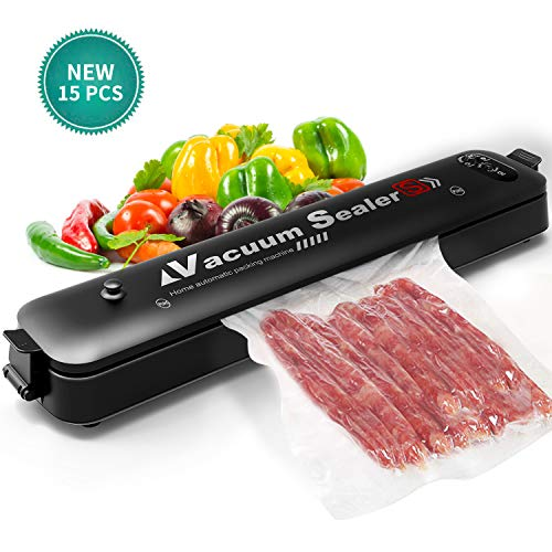 Vacuum Sealer Automatic Food Sealer Machine with 15 Sealing Bags & Starter Kit | Safety Certification | Dry & Moist Modes |Compact & Easy -