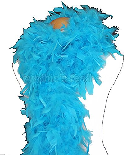 Cynthia's Feathers 80g Turkey Chandelle Feather Boas Over 30 Color & Patterns (Turquoise) Flapper Boa